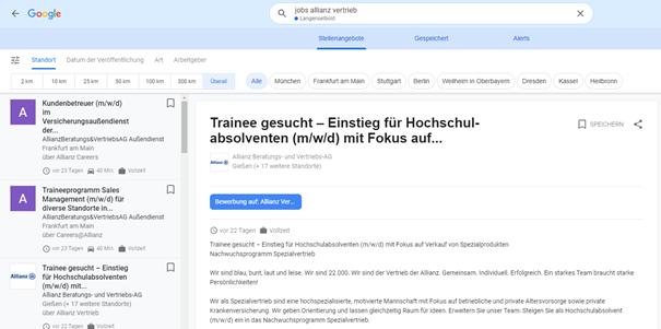 Allianz Stellenanzeigen von der eigenen Karriereseite auf Google for Jobs