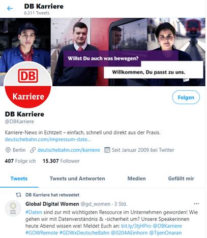 Deutsche Bahn Karriereseite auf Twitter