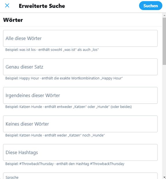 Twitter erweiterte Suche