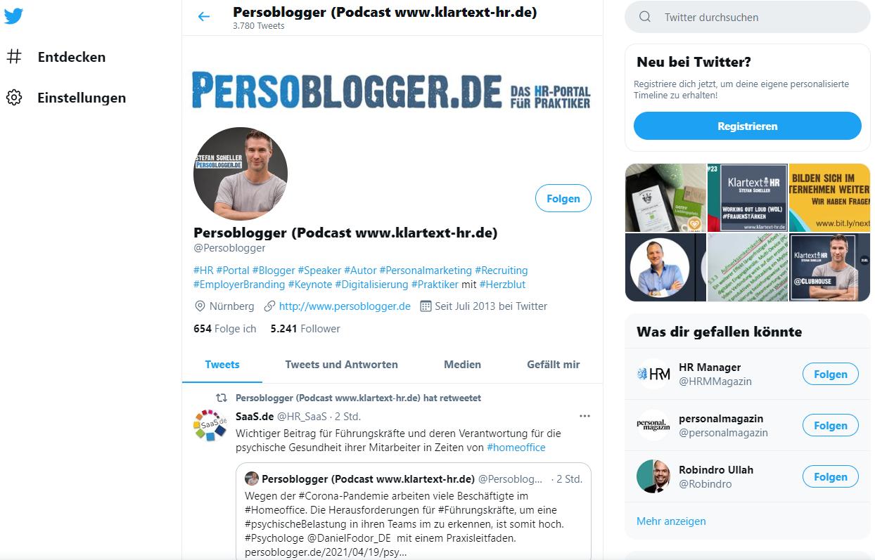 Persoblogger auf Twitter
