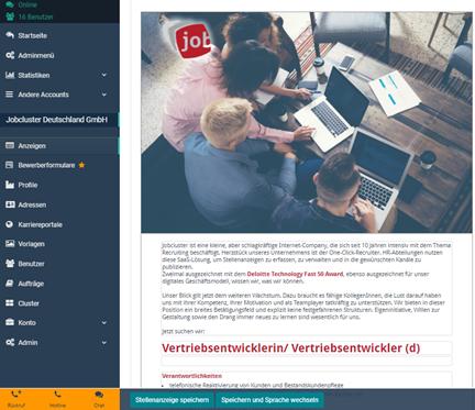 One-Click-Recruiter Anzeigenerstellung