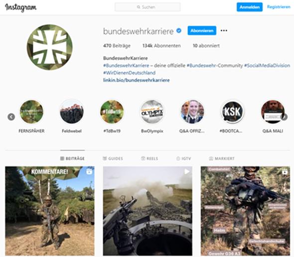 Bundeswehrkarriere auf Instagram