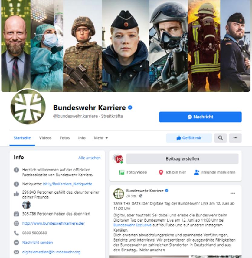 Bundeswehr Karriereseite Facebook
