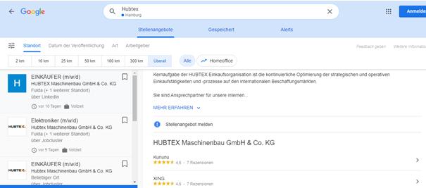 Hubtex Bewertungen Google for Jobs