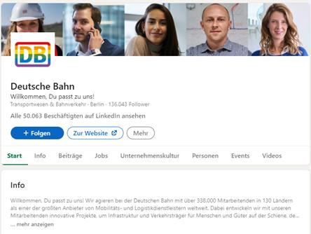 Deutsche Bahn LinkedIn Seite