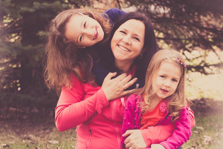 Photo mère et filles à St-Lambert