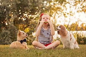 Portrait petite filles et deux chiens