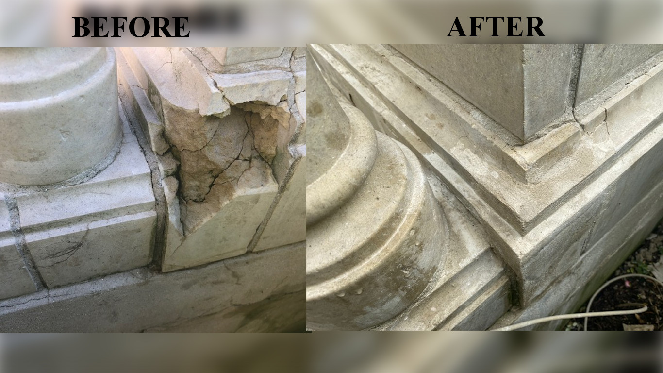 Cast stone before and after repair