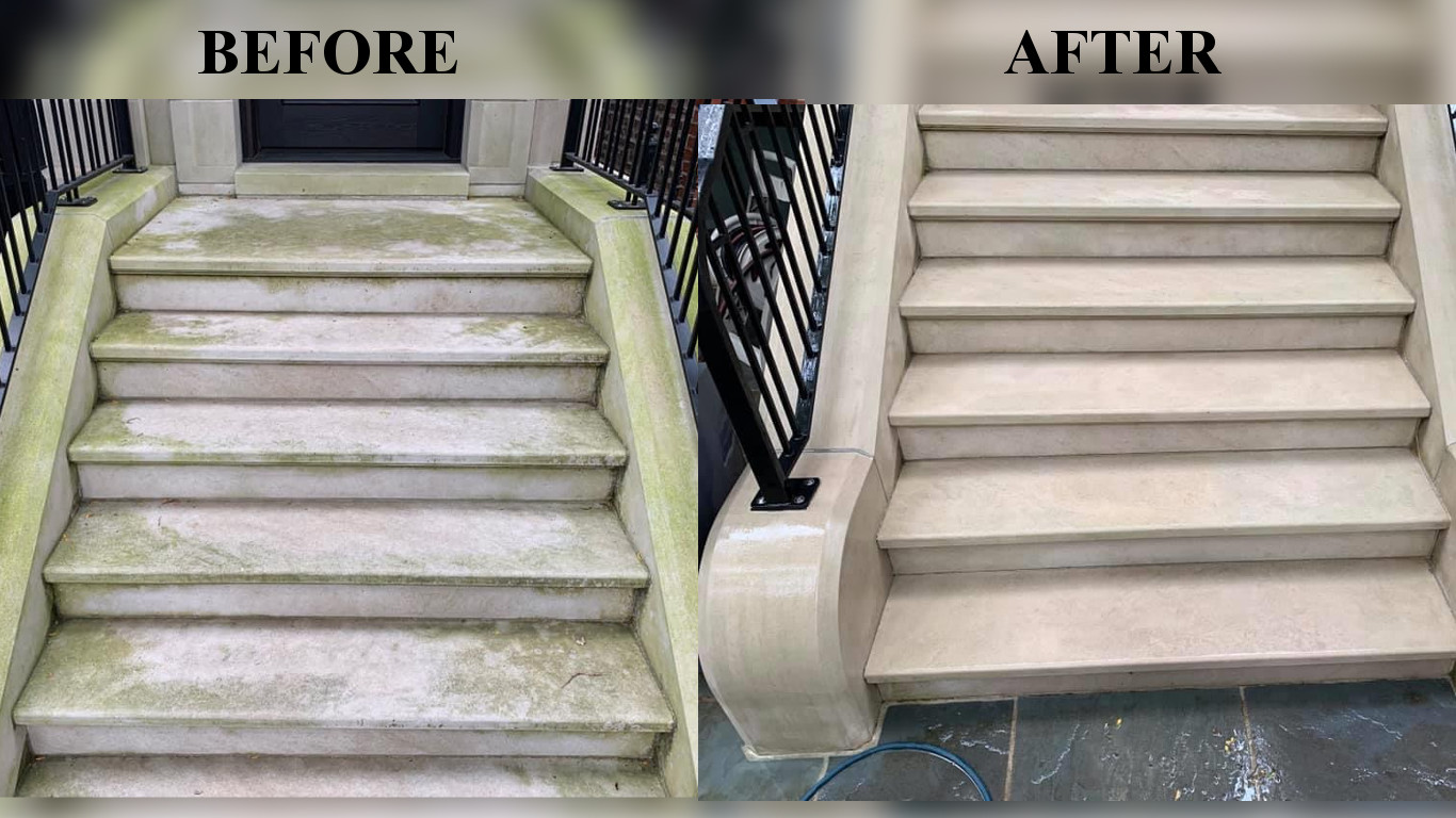 Cast stone before and after cleaning