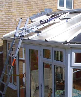 Conservatory cleaning portsmouth roof ladder
