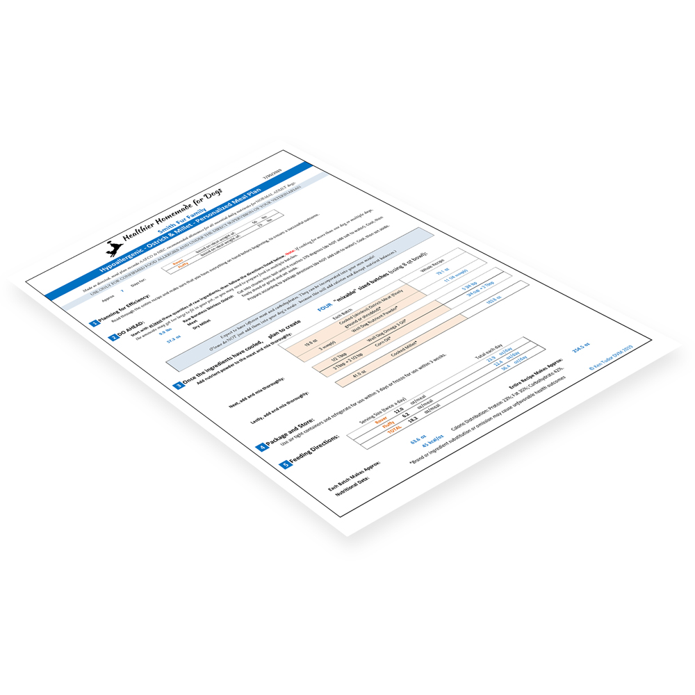 Shows sample Personalized Meal Plan, a recipe created individually for your fur family according to your dog's health profile