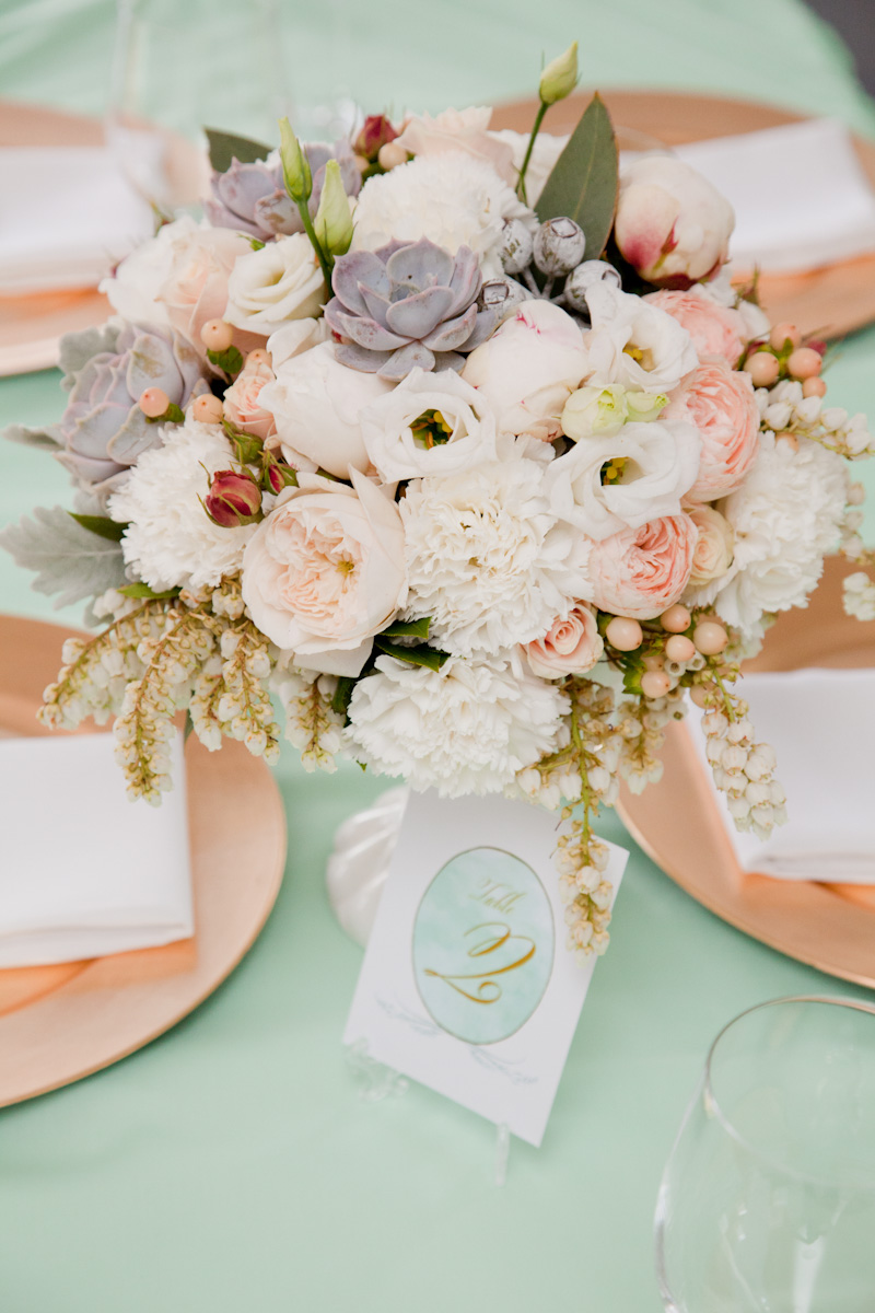 Mint Green and Rose Gold Tablescape