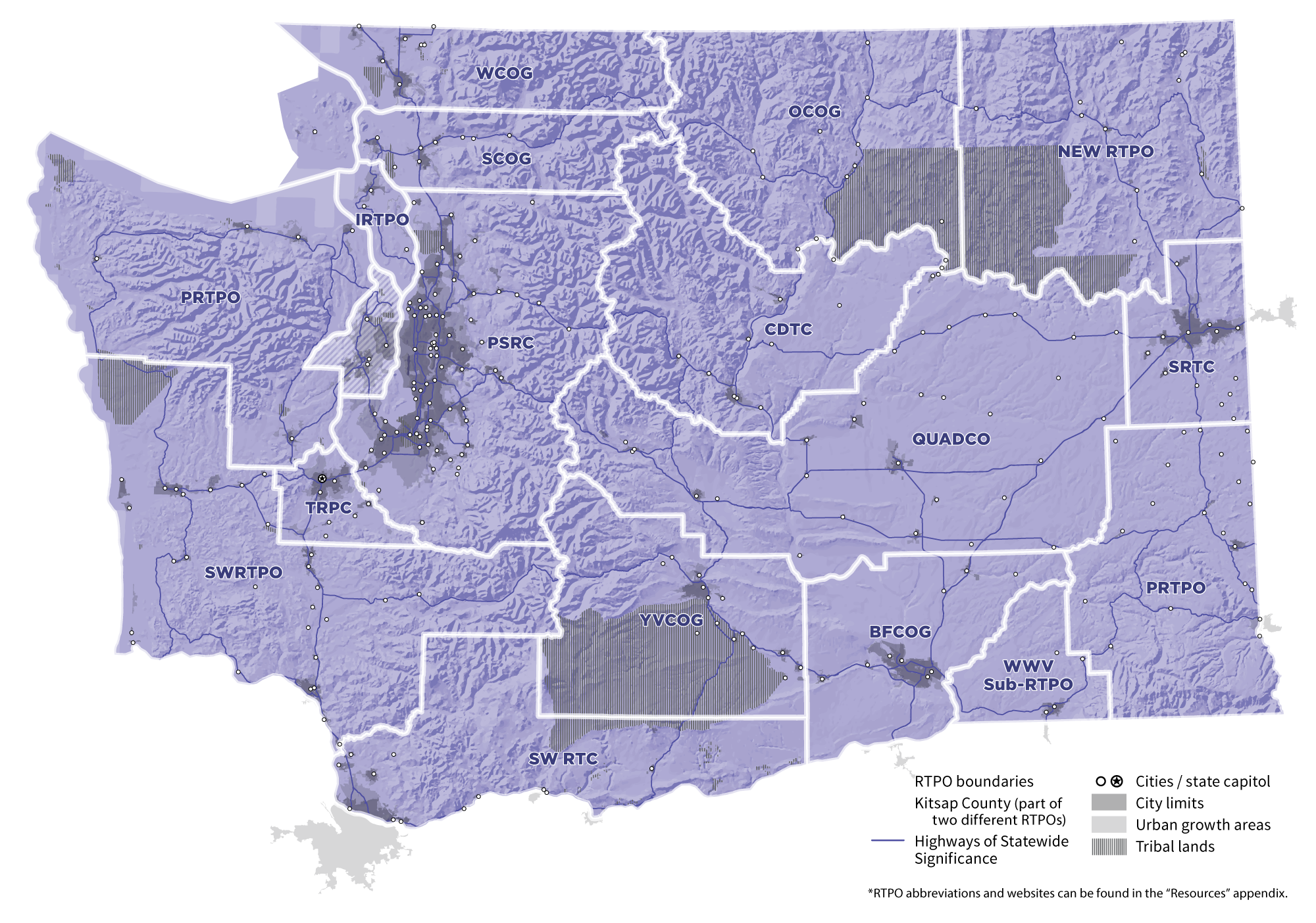 Washington State RTPO Map in Purple