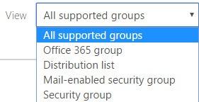 Menu of Office 365 Group Types