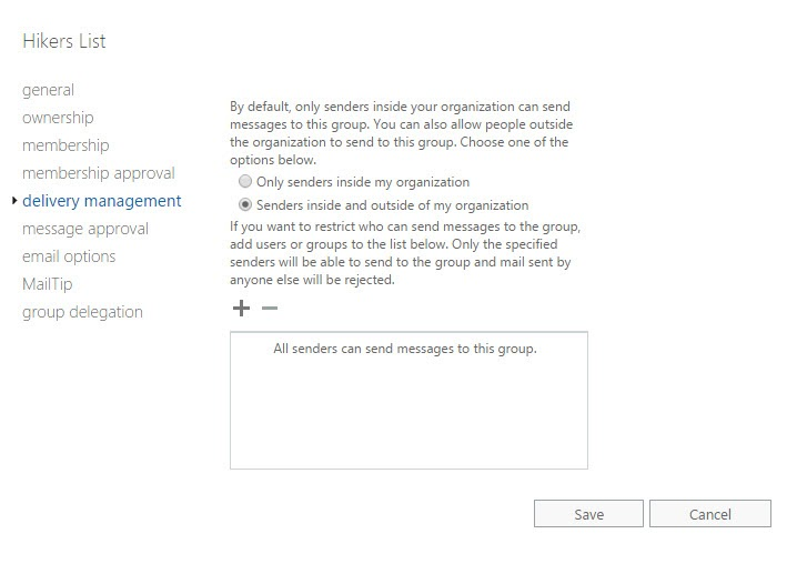 Delivery Management Settings for Groups in Exchange Admin Center