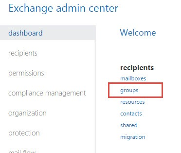 Exchange Admin Center Highlighting Groups Option