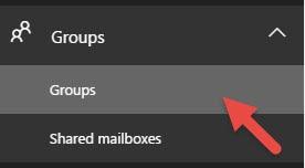 Office 365 Groups Left Menu