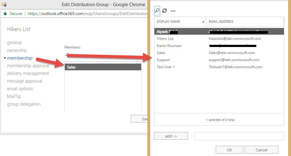 Office 365 Group Membership Exchange Admin Center