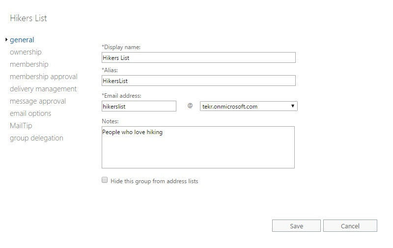 General Tab of Group Settings in Exchange Admin Center