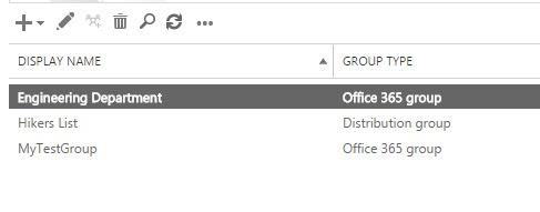 Exchange Admin Center Groups List