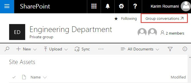 Group Conversations in SharePoint linking back to Office 365 Group Page