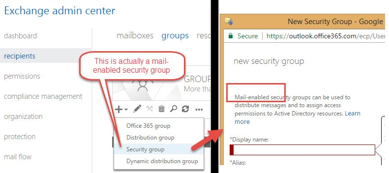 Exchange Admin Center showing Mail Enabled Security Groups