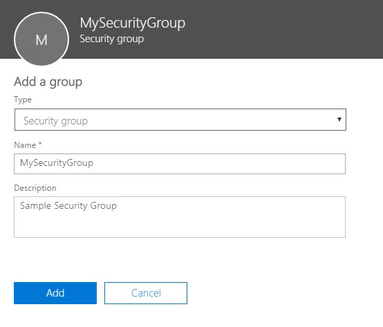 Office 365 Admin Center Security Group Settings Add a Group