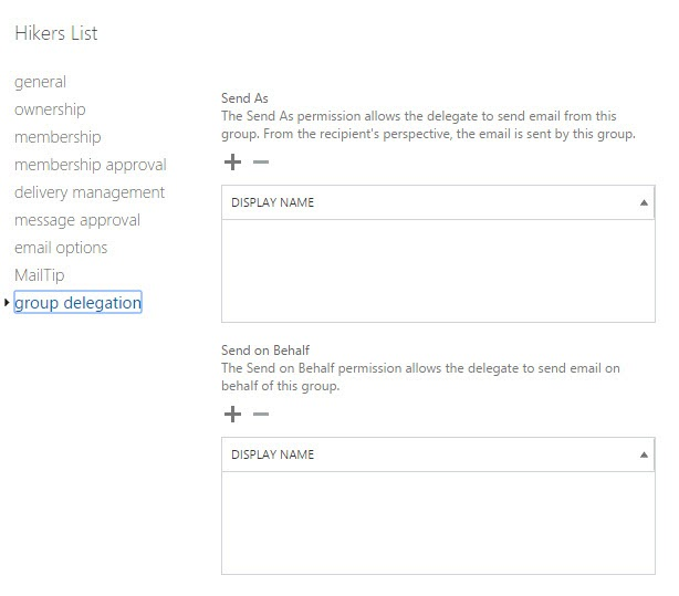 Group Delegation Settings in Exhcange Admin Center