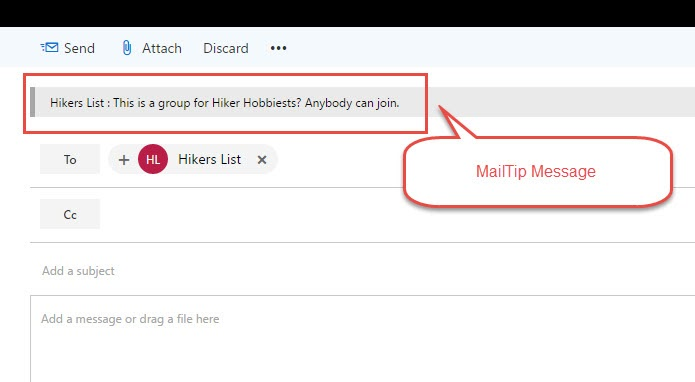 MailTip for Groups as they appear in Outlook and Exchange.
