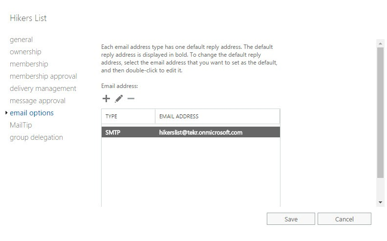 Email Options Settings for Groups in Exchange Admin Center