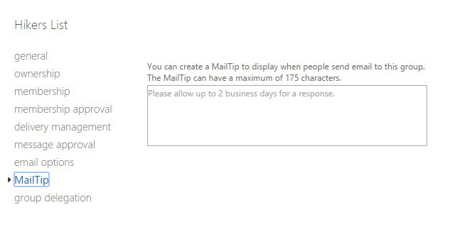 MailTip in Exchange Admin Center for the Group