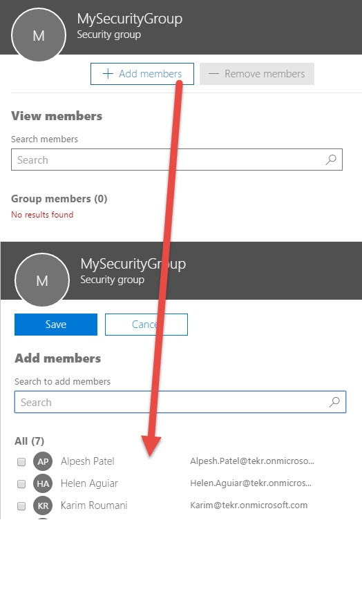 Adding Members to Security Group in Office 365 Admin Center