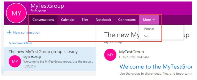 Main Page of an Office 365 Group highliting Menu