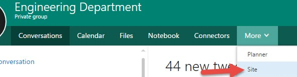 Office 365 Group SharePoint Site option