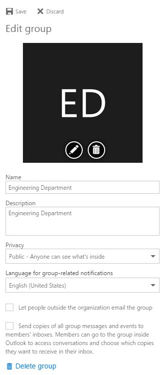 Edit Office 365 Group options and form