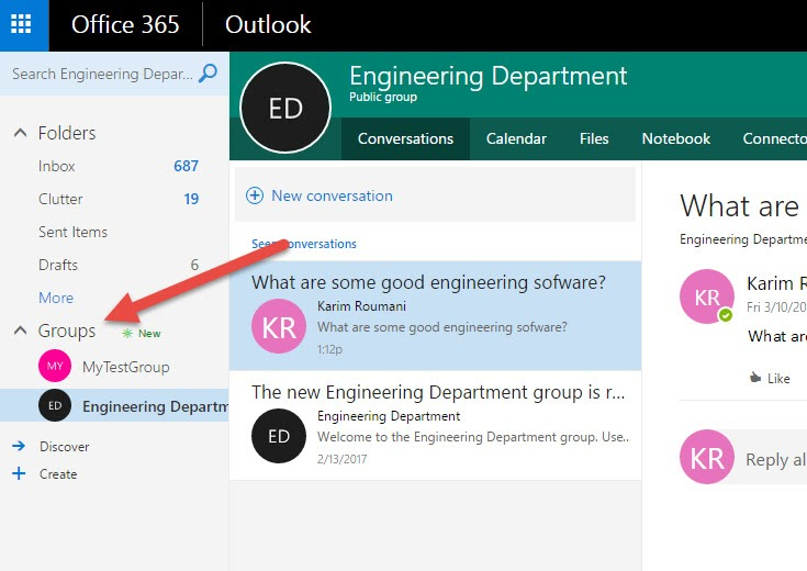 Office 365 Groups Showing in Left Menu of Outlook