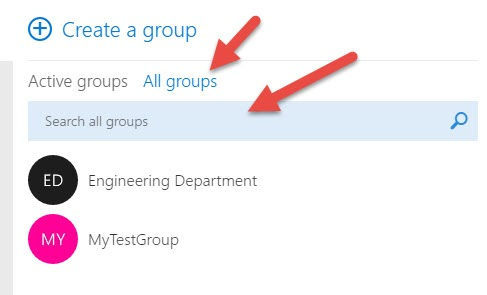 List of Office 365 Groups in Outlook after Clicking Discover