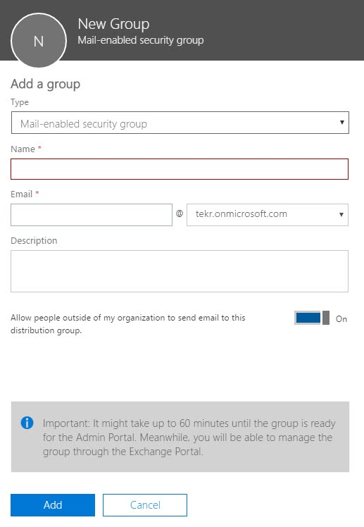 New Mail Enabled Group in Office 365 Admin Center