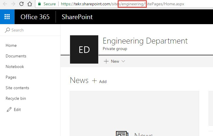 Office 365 SharePoint Site Collection URL