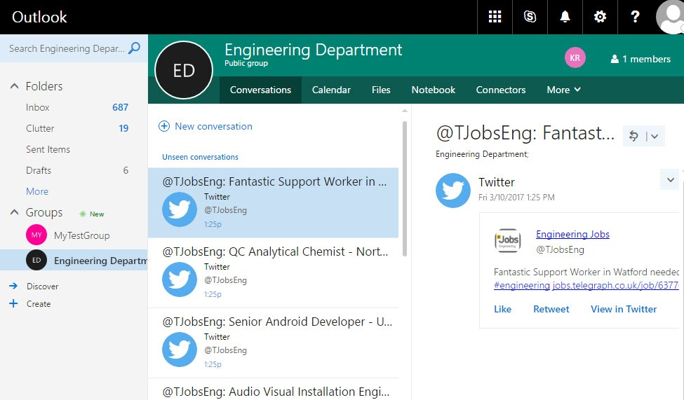 Office 365 Conversations showing Twitter Messages