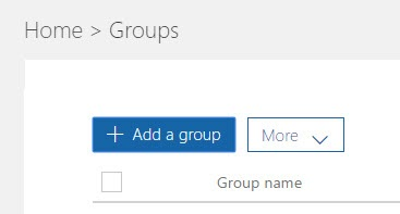 Add a Group Button in Office 365 Admin Center