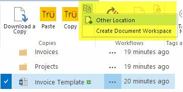 Select Other Location to send a SharePoint file to another library or folder