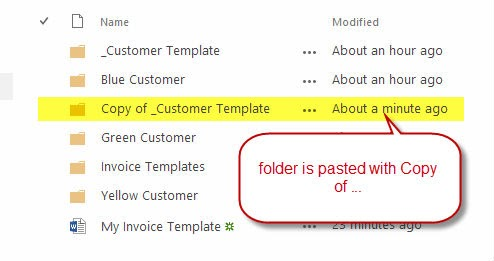 """Once you paste a copy of say a folder with the same name, """"copy of.."""" is prefixed to to the folder name to indicate the copied folder."""