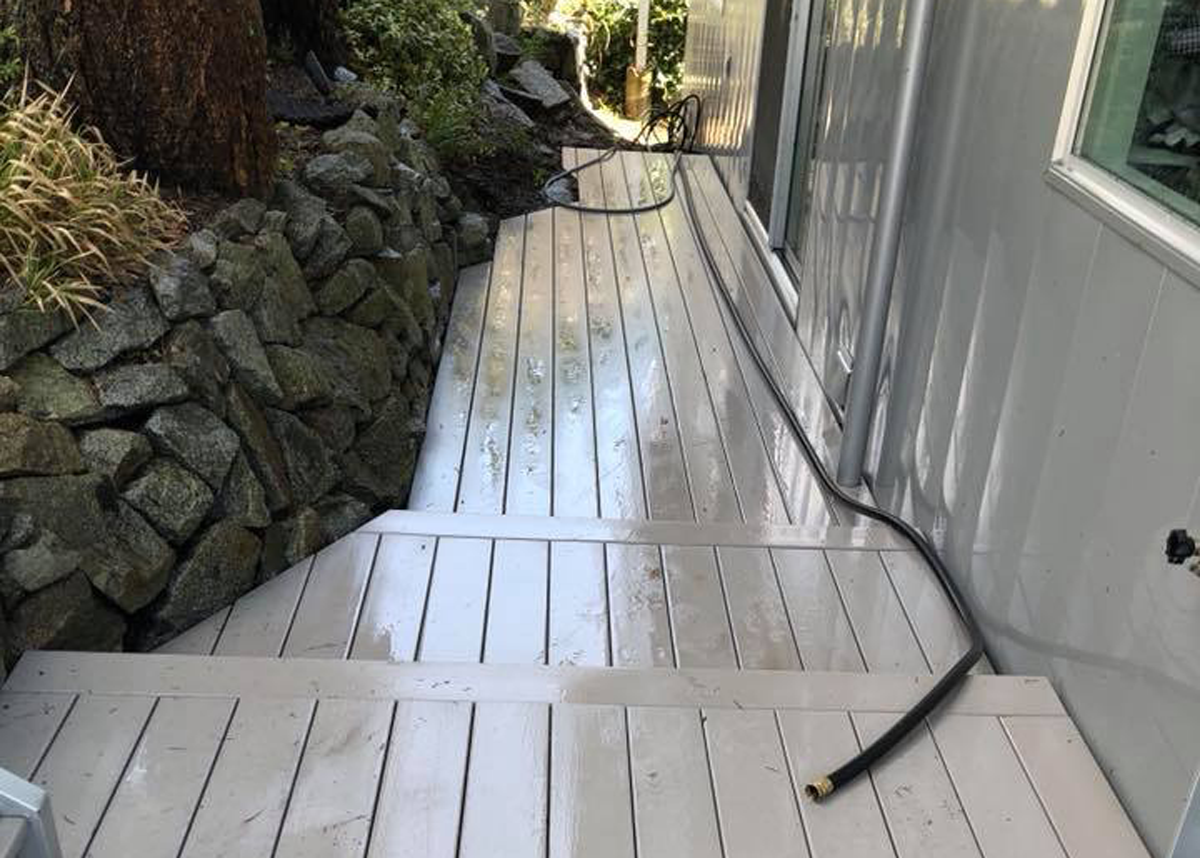 Deck after power washing