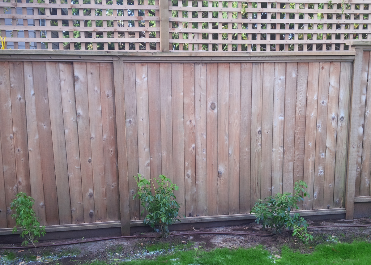 Wooden fence after power washing