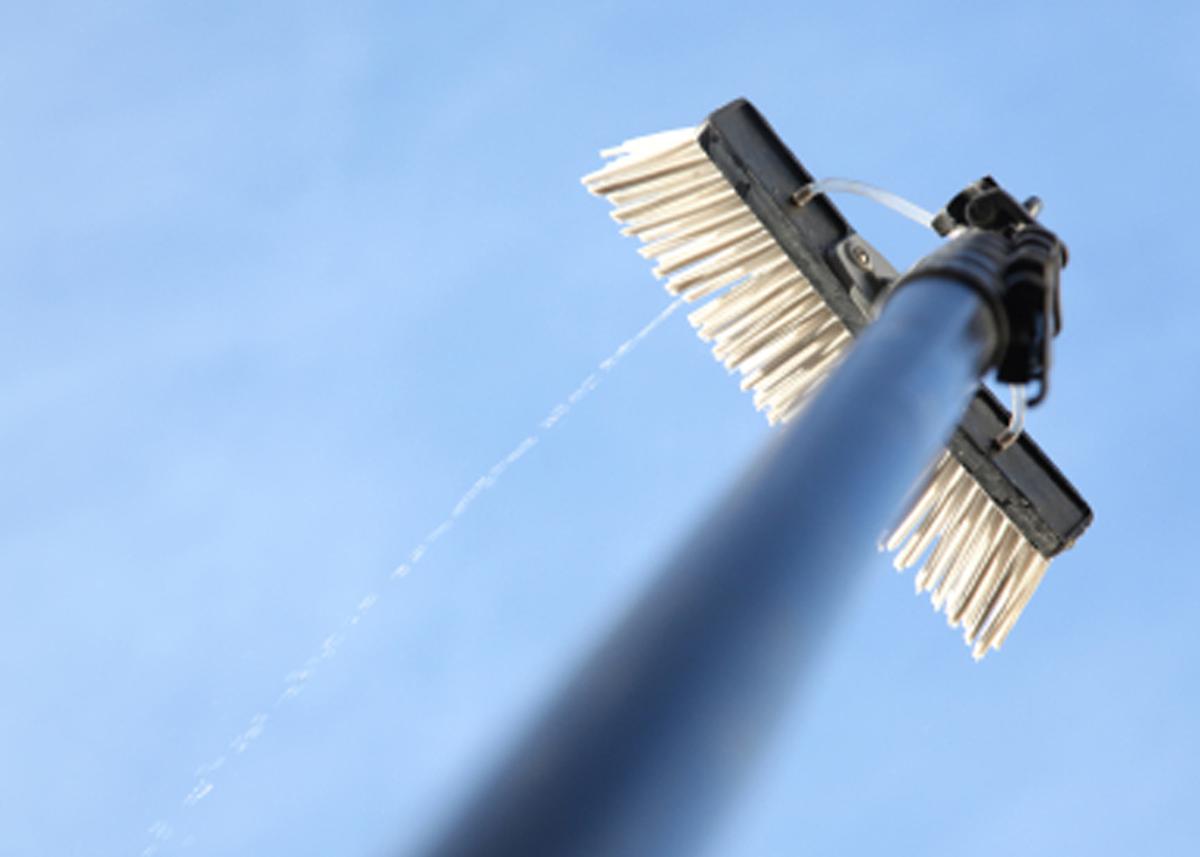 A water fed window washing pole.