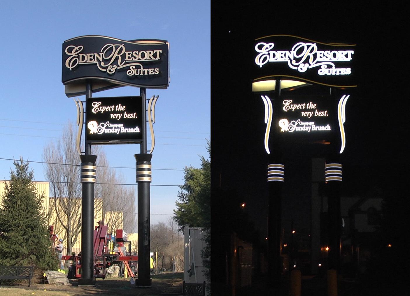 Eden Resort_Day_Night - Pylon w Digital Sign