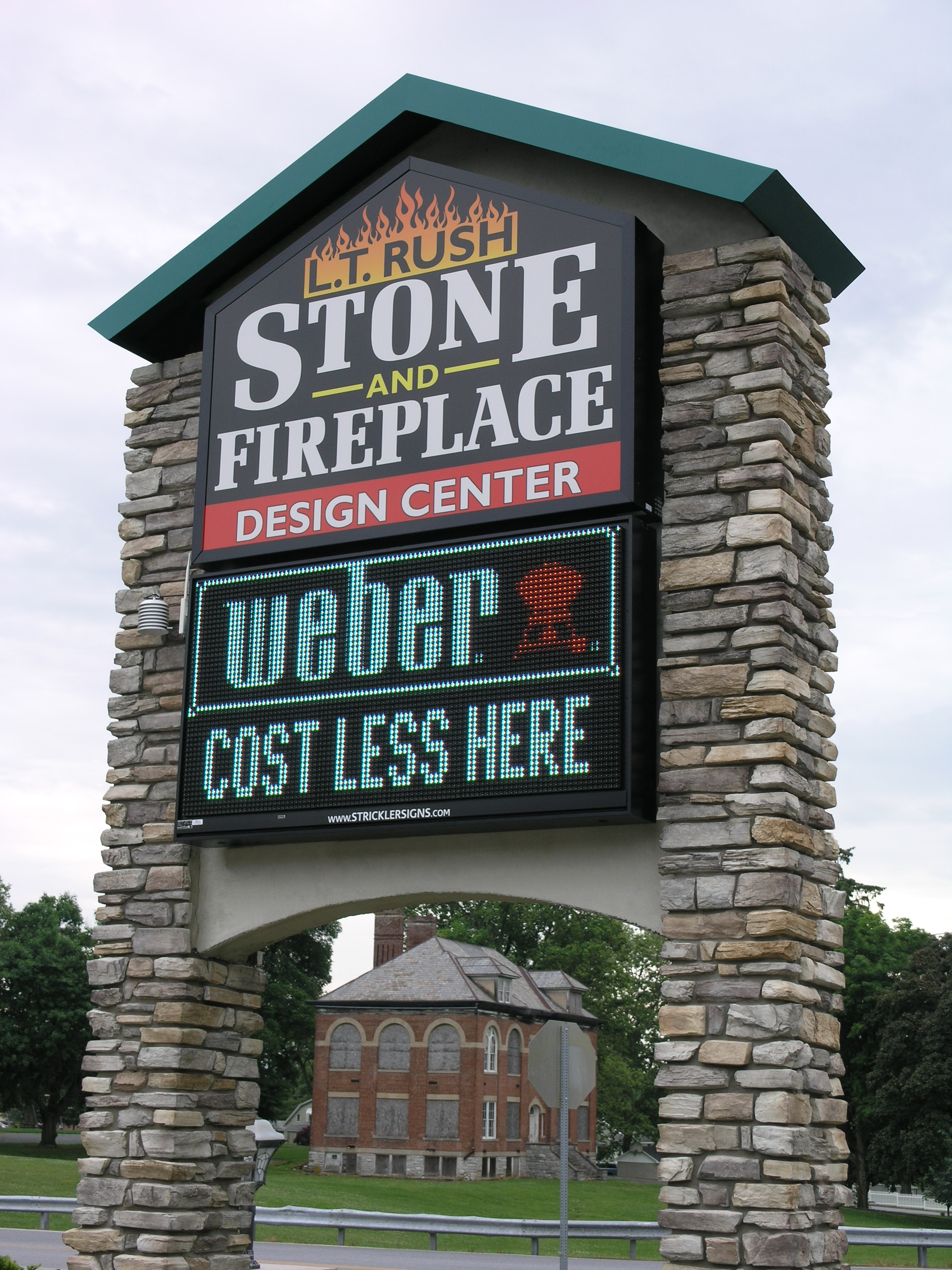 LT RUSH Stone and Fireplace - Monument w Digital Sign