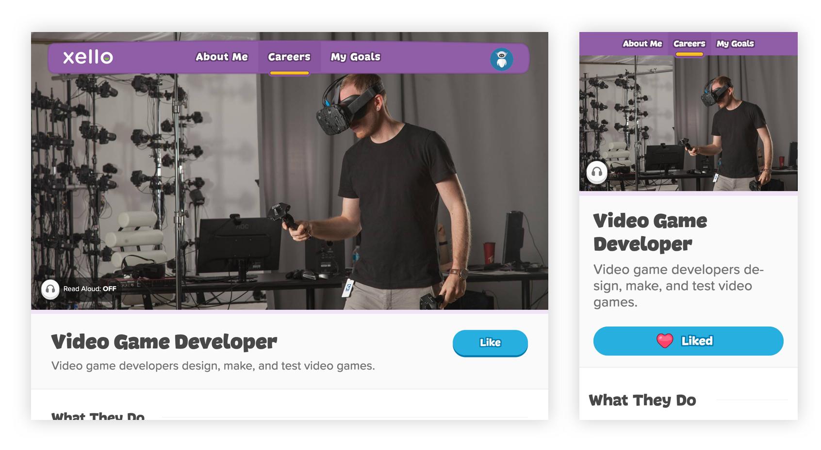 Final screenshots of Video Game Developer profile