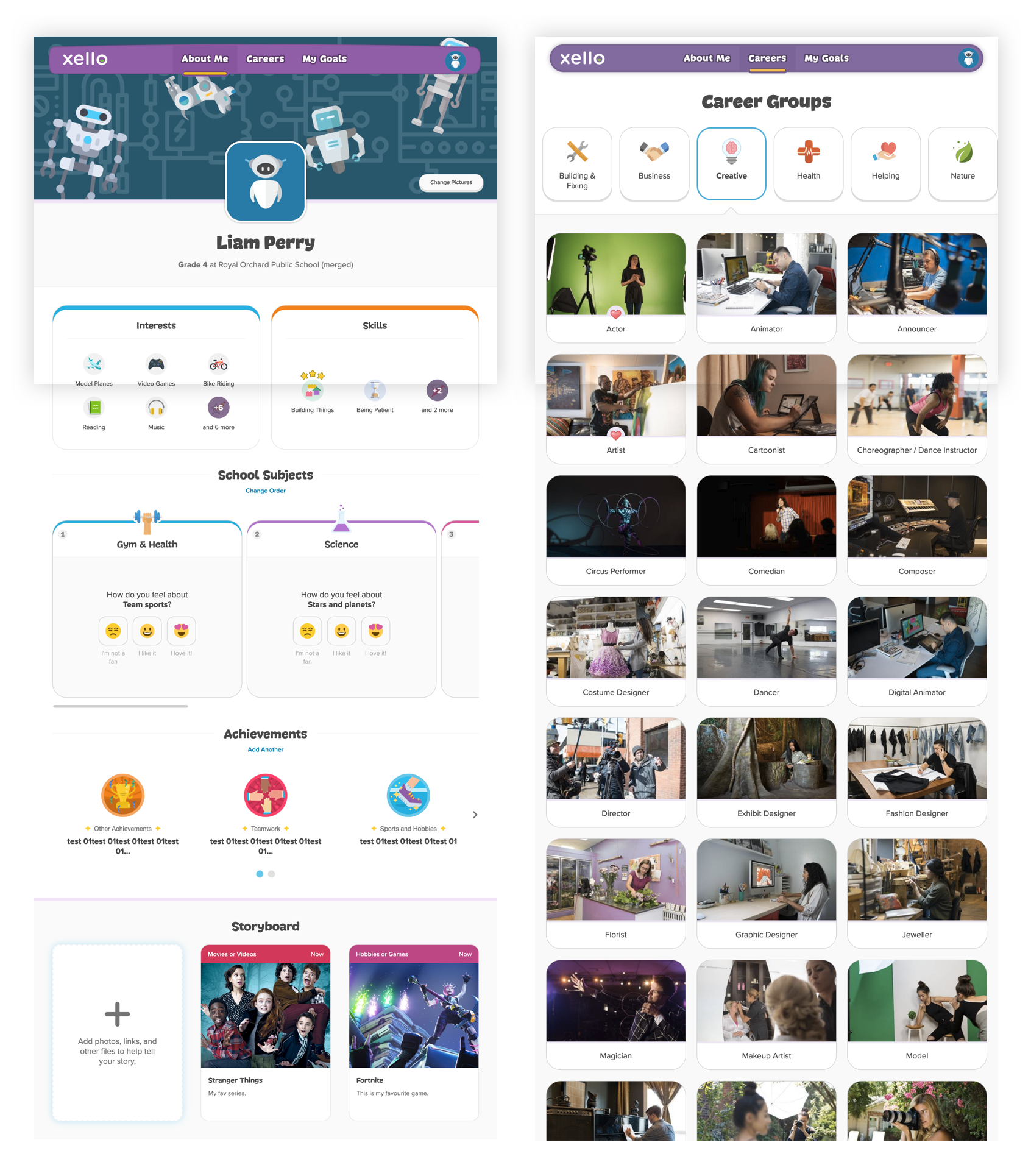 Profile page and Career Explore page